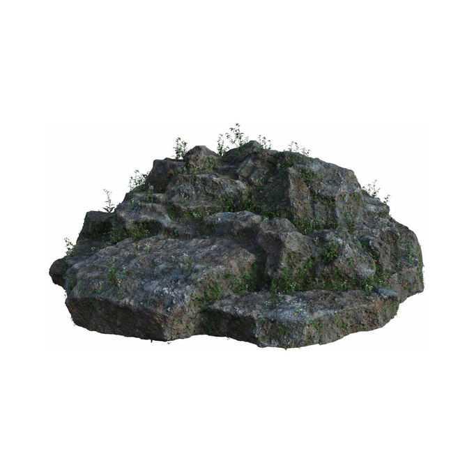 几块石头上长着一些野草7950574png免抠图片素材