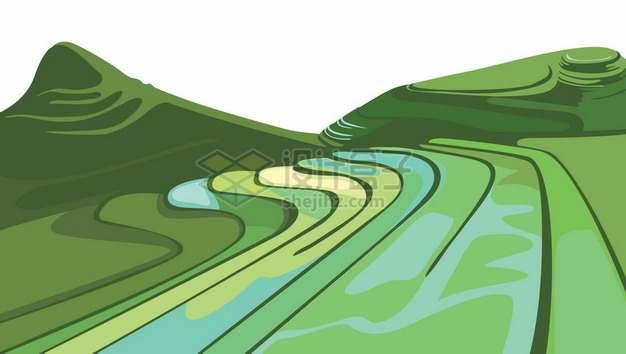 中国南方丘陵地带的绿色梯田水稻田乡村风光4407474矢量图片免抠素材