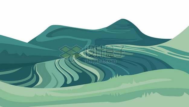 中国南方丘陵地带的绿色梯田乡村风景7247551矢量图片免抠素材