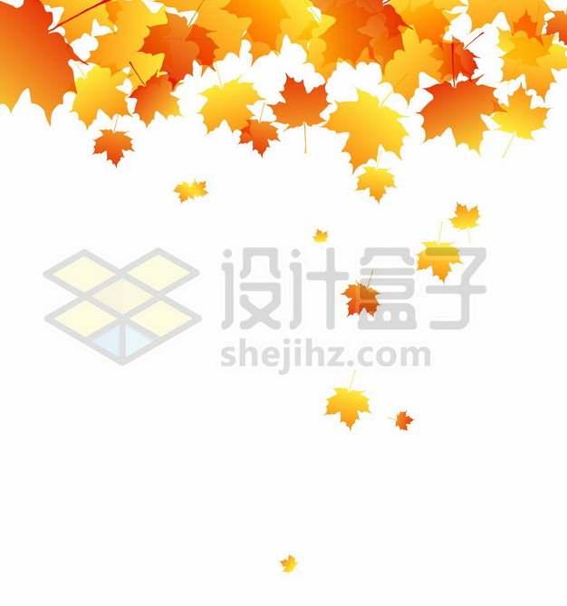 秋天里飘落的枫叶黄色红色树叶4193559矢量图片免抠素材