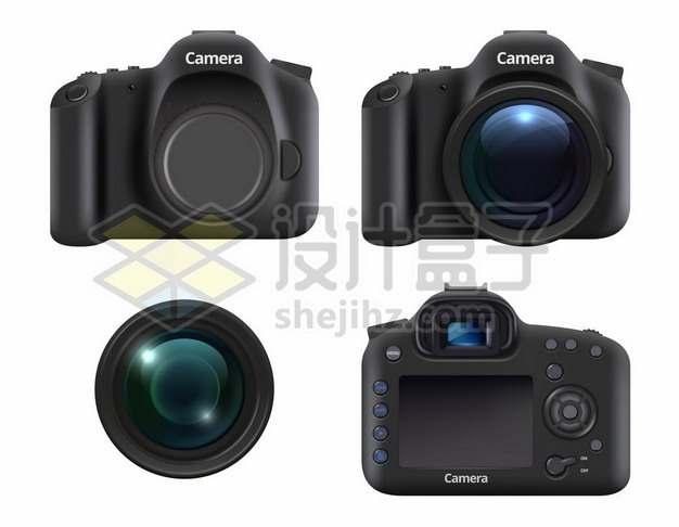 4款黑色的佳能照相机单反相机和镜头2135301矢量图片免抠素材免费下载