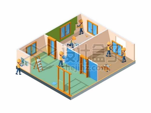 2.5D风格正在装修房间的建筑工人9861282矢量图片免抠素材免费下载