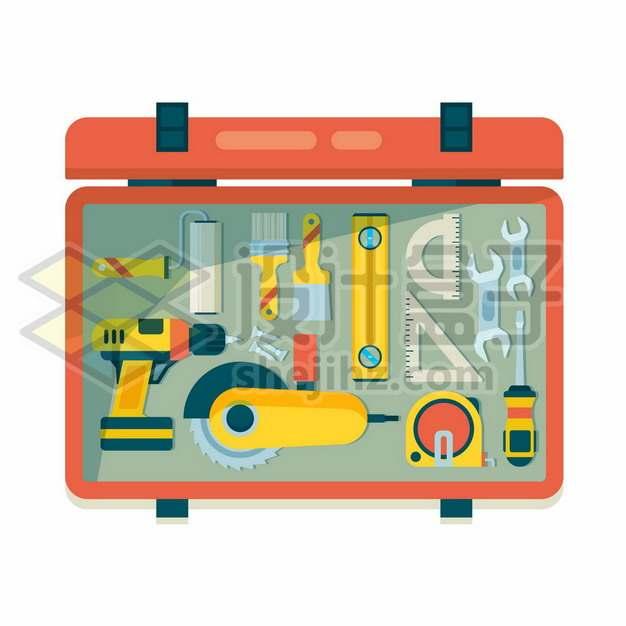打开的工具箱中的电钻电锯水平仪尺子扳手起子等装修工具6163132矢量图片免抠素材免费下载