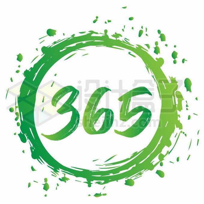 绿色涂鸦365天艺术字体6831430矢量图片免抠素材