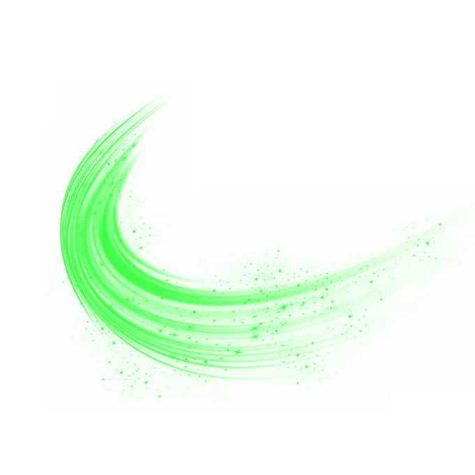 绿色光线炫光效果弯曲装饰1425847免抠图片素材