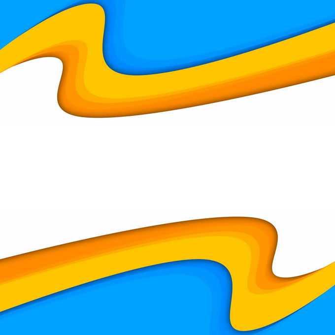 蓝色橙色黄色曲线装饰效果6216293免抠图片素材