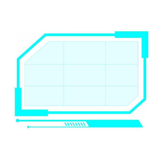 发光的天蓝色边框科技风格文本框信息框7479746免抠图片素材