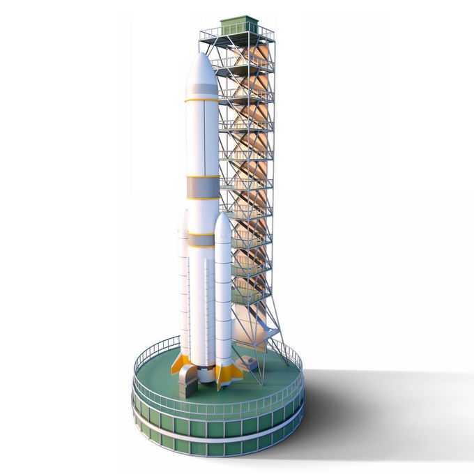 3D立体火箭发射塔上的运载火箭6970207免抠图片素材