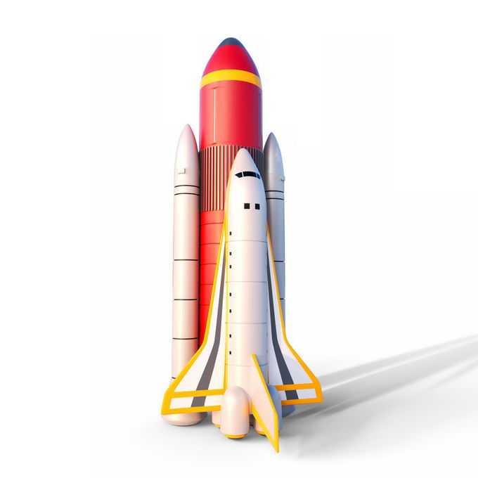 3D立体竖立状态准备发射起飞的航天飞机5223434免抠图片素材