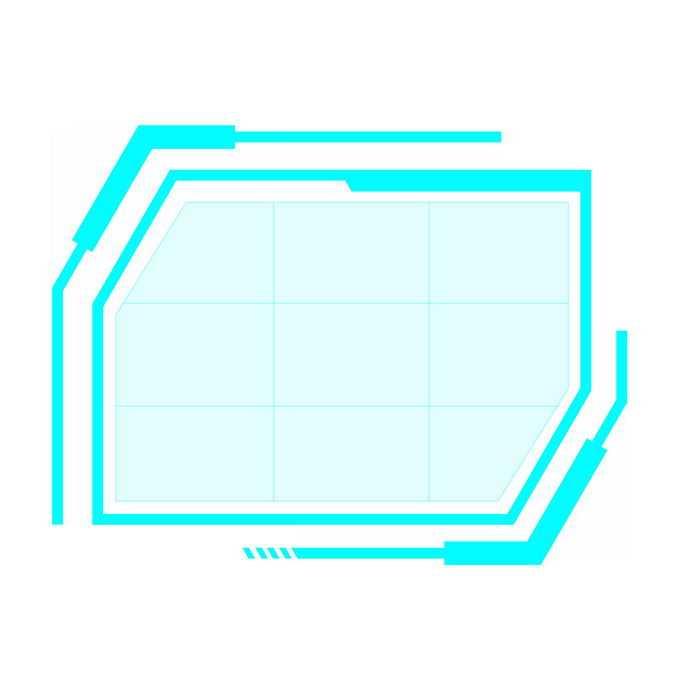 发光的天蓝色边框科技风格文本框信息框2577836免抠图片素材