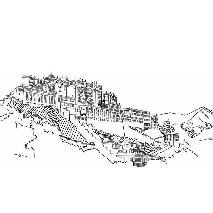 布达拉宫西藏旅游线条插画6336250免抠图片素材