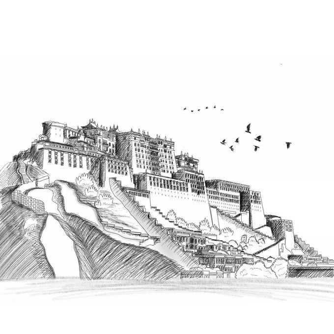 布达拉宫西藏旅游铅笔涂鸦插画6303134免抠图片素材