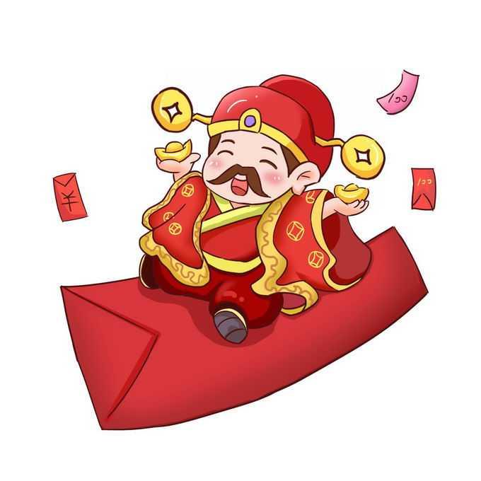 卡通财神爷坐在红包上9521389免抠图片素材