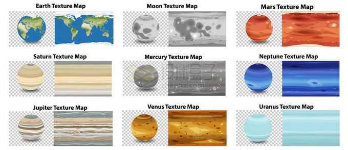 太阳系八大行星和月球表面平面地图2265430矢量图片免抠素材免费下载