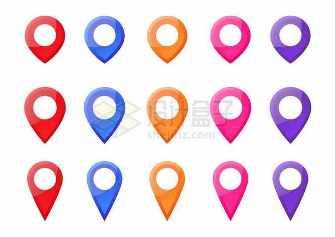 15款彩色定位标志导航地图元素9477151矢量图片免抠素材免费下载