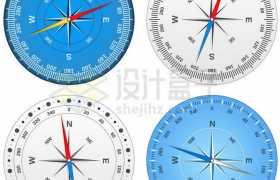 4款蓝色银色表盘的指南针9005545矢量图片免抠素材免费下载