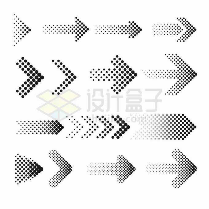 各种黑色圆点组成的方向箭头图案9738470矢量图片免抠素材免费下载
