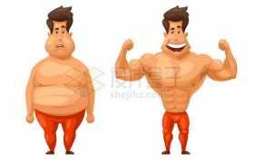 卡通肥胖人群和健身减肥后的肌肉男对比4703290矢量图片免抠素材免费下载