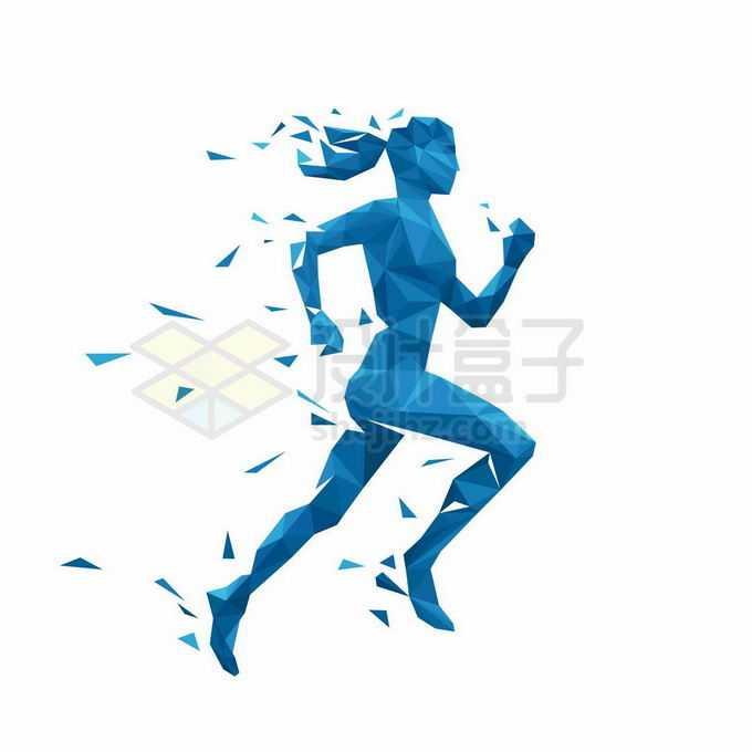 破碎蓝色三角形组成的正在跑步的女人运动员插画3018838矢量图片免抠素材免费下载