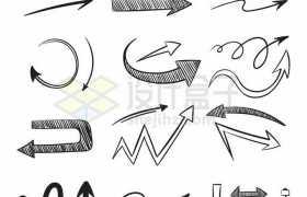 各种手绘涂鸦风格箭头指示箭头方向箭头5370622矢量图片免抠素材免费下载