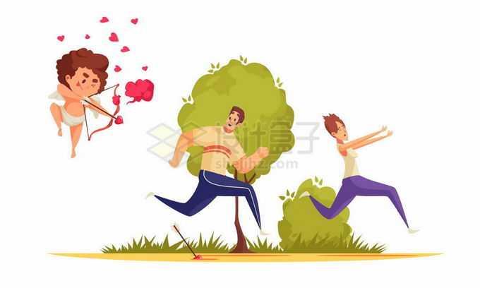 被爱神丘比特盯上的卡通男人和女人7053044矢量图片免抠素材免费下载