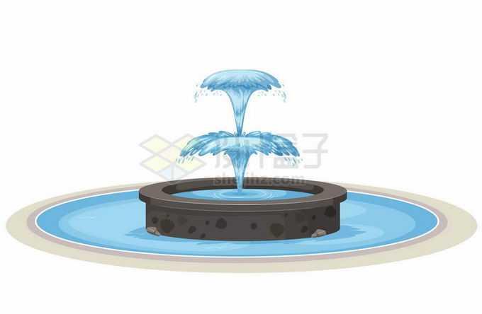 卡通圆形喷泉喷出蓝色的泉水7196096矢量图片免抠素材免费下载