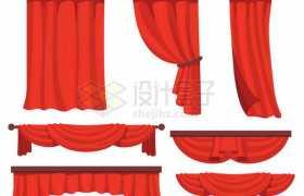 各种礼堂大会堂舞台幕布红色帷幕装饰1928322矢量图片免抠素材免费下载
