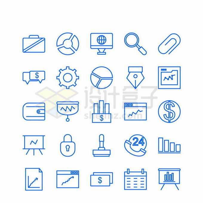 25款公文包电脑货币符号等蓝色线条金融商务图标3447249矢量图片免抠素材免费下载
