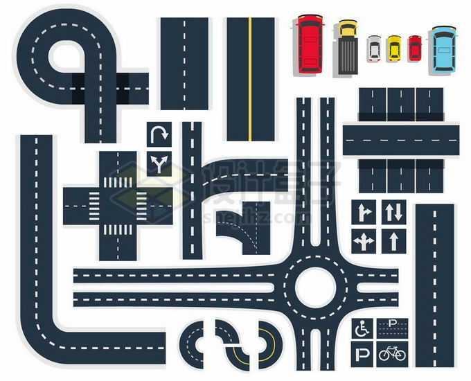各种俯视视角的卡通道路马路公路和汽车城市交通1094504矢量图片免抠素材免费下载