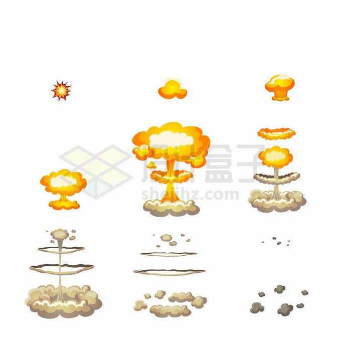 从起爆到爆炸结束卡通漫画风格原子弹炸弹爆炸效果2449204矢量图片免抠素材免费下载