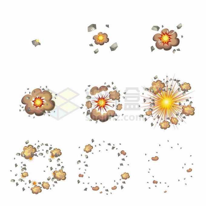 从起爆到爆炸结束卡通漫画风格爆炸效果6975735矢量图片免抠素材免费下载