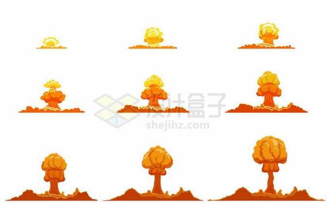 从起爆到爆炸结束卡通漫画风格蘑菇云原子弹炸弹爆炸效果1399729矢量图片免抠素材免费下载