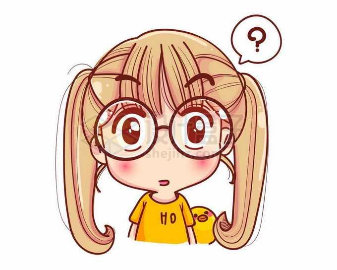 一脸懵逼充满疑问和问号的卡通女孩3640430矢量图片免抠素材