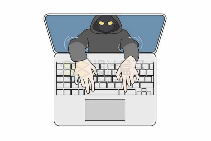 黑客从笔记本电脑屏幕中伸出双手控制电脑8276860矢量图片免抠素材