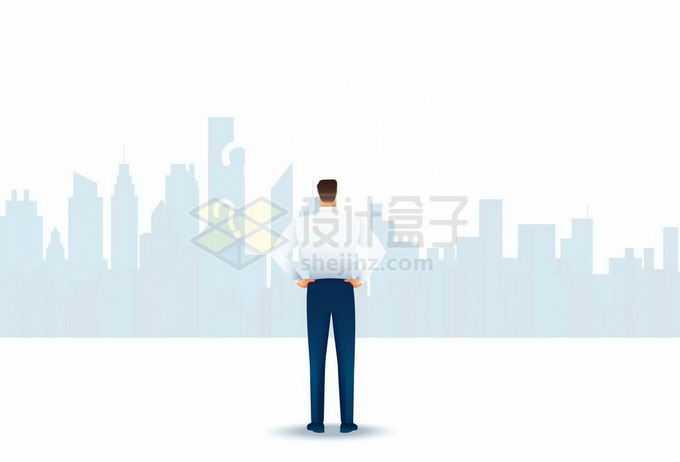 面对城市地平线剪影的商务人士背影2794199矢量图片免抠素材