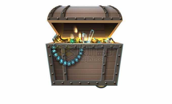 打开的宝物箱中闪闪发光的财宝7362996矢量图片免抠素材