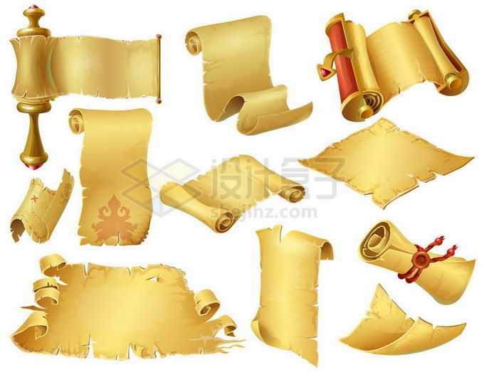 各种各样金色的复古卷轴1815482矢量图片免抠素材