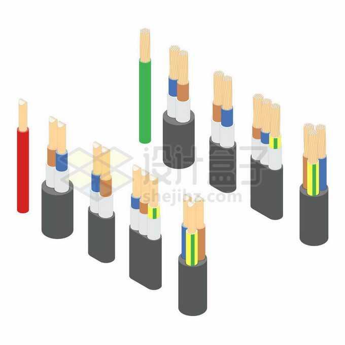 各种整齐剥开的电线内部结构6298816矢量图片免抠素材
