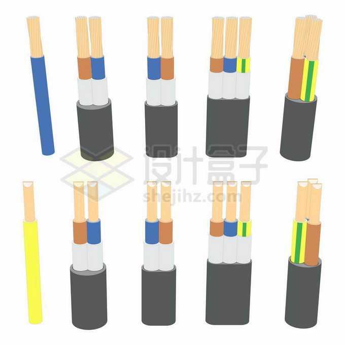 各种整齐剥开的电线电缆内部结构7592341矢量图片免抠素材