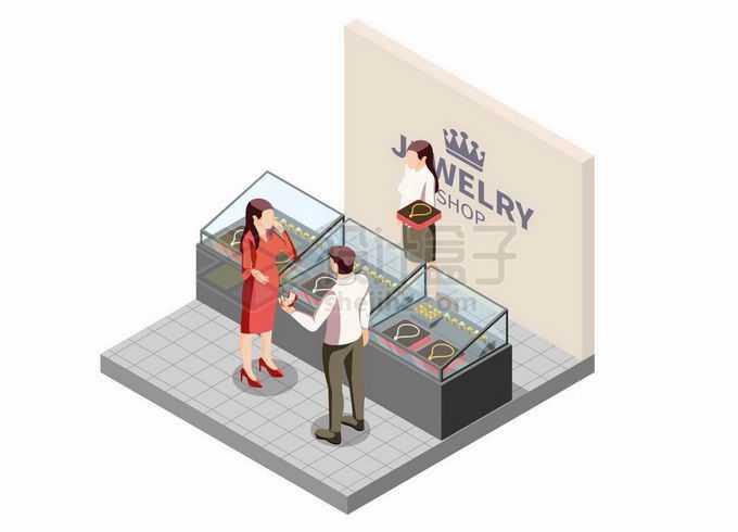 2.5D风格珠宝店柜台前选购钻石的情侣5467625矢量图片免抠素材