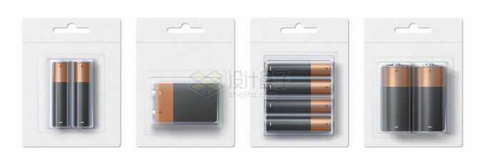 4款5号电池等各种型号电池空白包装2252545矢量图片免抠素材