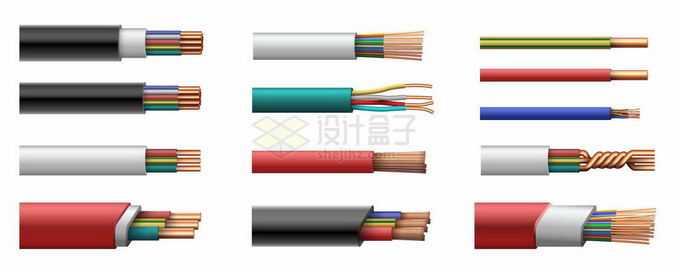 12款电线电缆剥开皮露出内部结构1198921矢量图片免抠素材