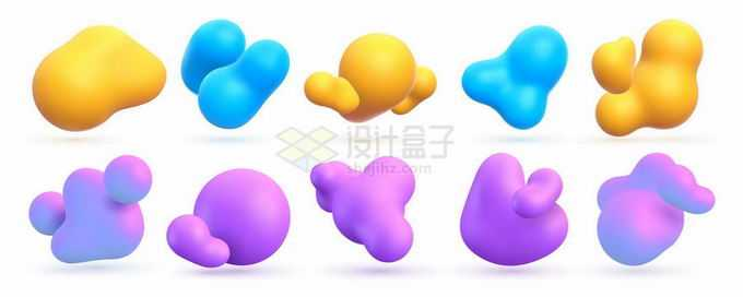 10款彩色3D不规则形状抽象装饰7193807矢量图片免抠素材
