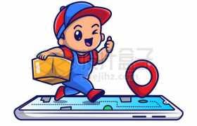 MBE风格奔跑在手机上的快递员送货员2965416矢量图片免抠素材