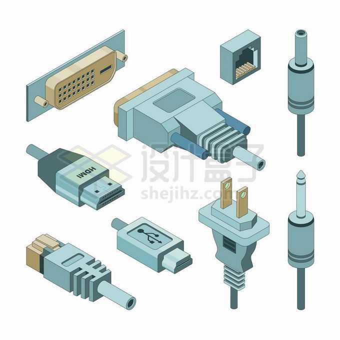 各种3D电脑接口VGA接口USB接口网线接口HDMI接口等等6822478矢量图片免抠素材