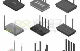 9款3D路由器wifi网络9965428矢量图片免抠素材