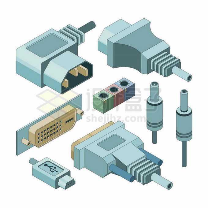 各种3D电脑电源接口VGA接口耳机接口等等7351541矢量图片免抠素材