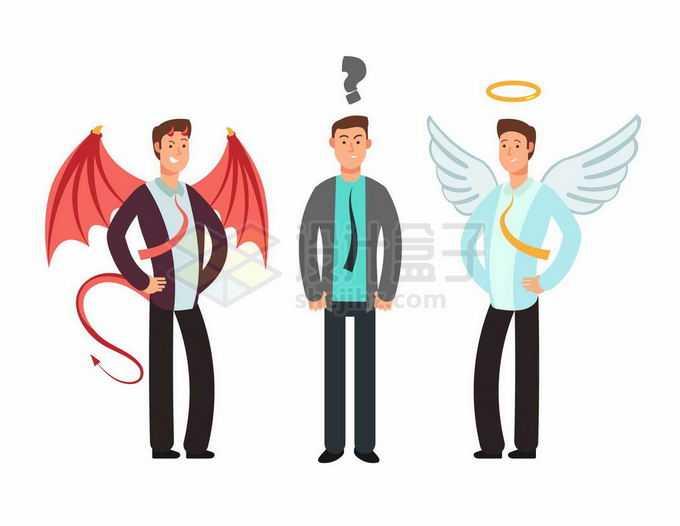充满疑惑的男人和天使恶魔象征了面临抉择选择7950819矢量图片免抠素材