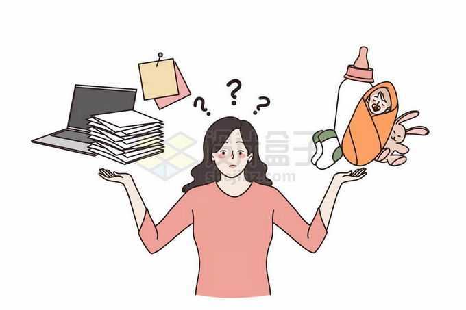 工作和家庭孰重孰轻的女人手绘插画5323767矢量图片免抠素材
