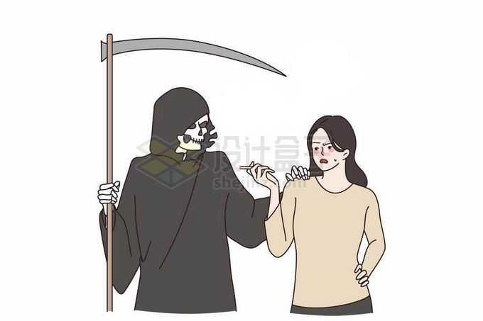 抽烟的女人被死神盯上了吸烟有害健康手绘插画9833696矢量图片免抠素材